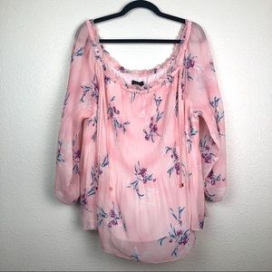 NEW Lane Bryant pink floral blouse, 18/20